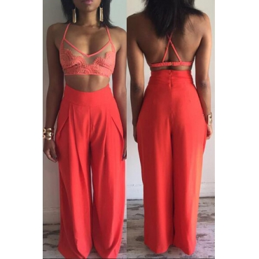 Trendy V Neck Sleeveless Patchwork See-Through Red Qmilch Two-piece Pants Set