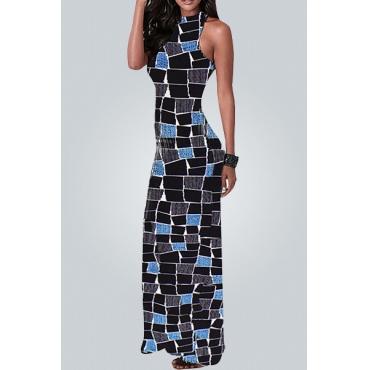 Stylish Round Neck Sleeveless Stone Block Printed Polyester Ankle Length Dress
