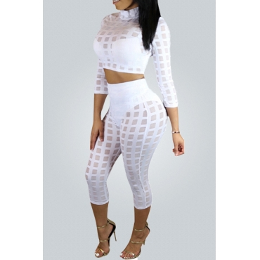 Sexy Round Neck Three Quarter Sleeves Grid Hollow-out White Polyester Two-piece Shorts Set