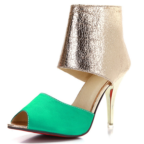 Na moda Peep Toe Redonda Cor-block Patchwork Stiletto Super High Heel verde PU Bombas