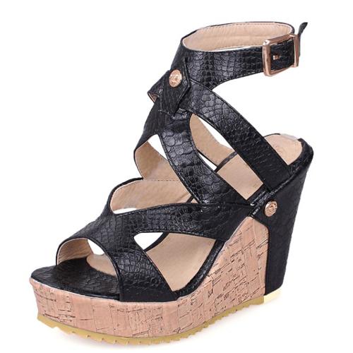 PU Wedge Super alta moda tobillo sandalias