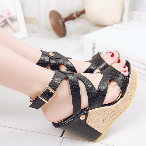 PU Wedge Super alta moda tobillo sandalias