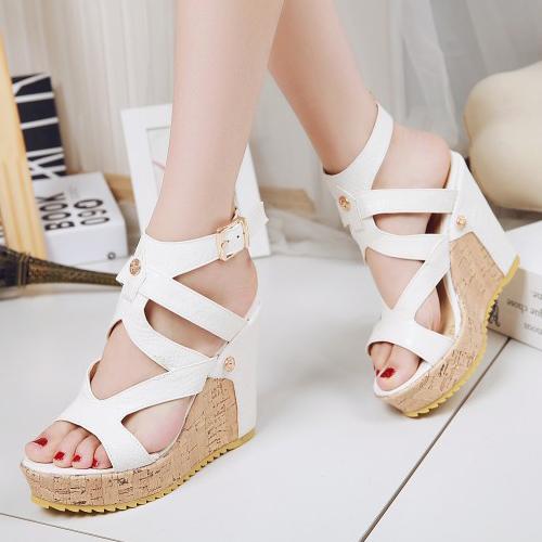 PU Cunha Super alta moda sandálias cinta de tornozelo