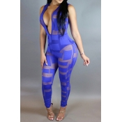 Sexy Deep V Neck Sleeveless Patchwork See-Through Blue Lace  One-piece Skinny Jumpsuits