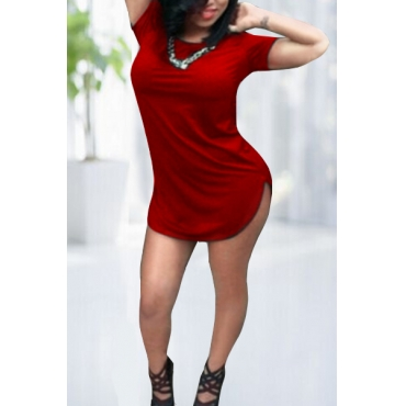 Fashion O Neck Short Sleeves Red Sheath Mini Dress
