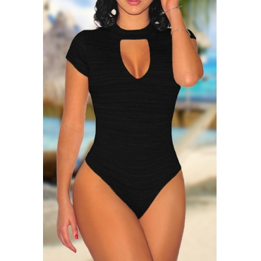 Sexy Round Neck Short Sleeves Hollow-out Black Polyester One-piece Skinny Jumpsuits
