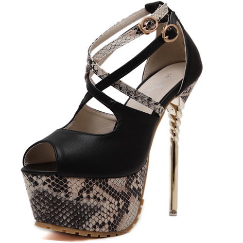 Stylish Round Peep Toe Snakeskin Grain Patchwork Stiletto Super High Heel Black PU Ankle Strap Pumps