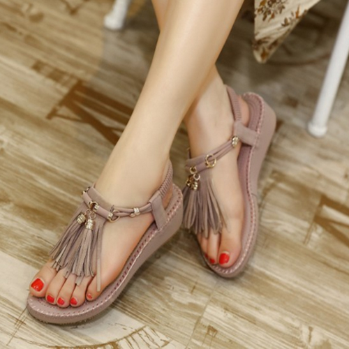 Stylish Open Toe Tassel Design Flat Low Heel Pink PU Sandals