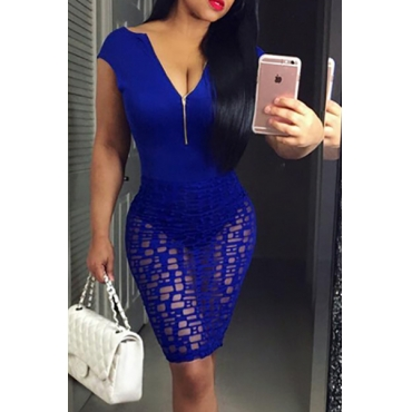 Sexy V Neck Short Sleeves Zippered Hollow-out Blue Qmilch Sheath Knee Length Dress