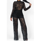 Sexy Round Neck Long Sleeves See-Through Black Lace One-piece Jumpsuits (Include Shorts)