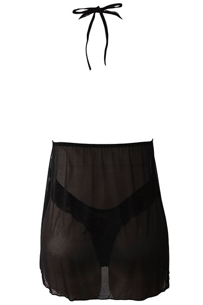Sexy V Neck Backless See-Through Black Polyester Nightdress (Include Briefs)