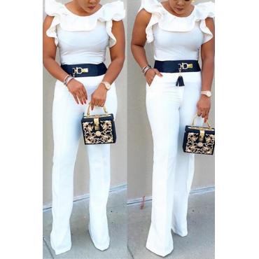 Stylish Sleeveless Falbala Design White Qmilch One-piece Skinny Jumpsuits(Without Belt)