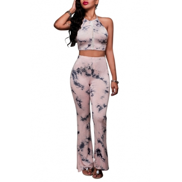 Sexy Round Neck Sleeveless Printed Cross Lace-up Backless Pink Qmilch Two-piece Pants Set