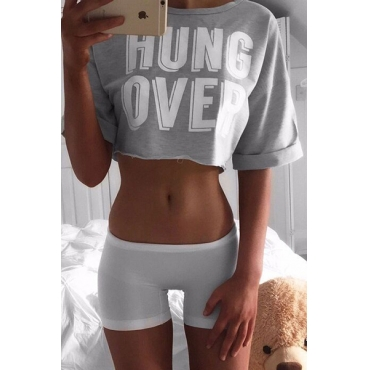 Euramerican Leisure Round Neck Short Sleeves Letters Printed Cotton T-shirt