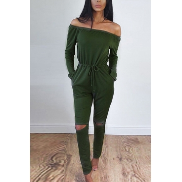 Contracted Style Bateau Neck Strapless Long Sleeves Broken Holes Green Polyester One-piece Jumpsuits