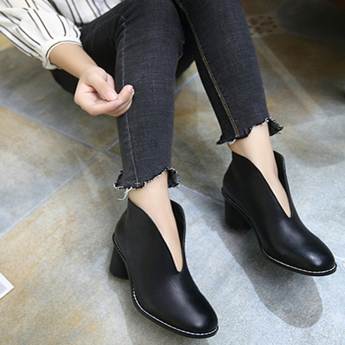 Spring Autumn Chunky High Heel Black PU Ankle Boots