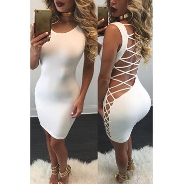 сексуальная O шеи без рукавов назад ремешками полым из белого qmilch оболочка мини-платье