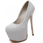 Stylish Round Closed Toe Stiletto Super High Heel White Suede Basic Pumps