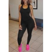 Leisure Round Neck Sleeveless Asymmetrical Black Qmilch One-piece Skinny Jumpsuits