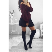 Casual  V Neck Long Sleeves Lace-up Wine Red Polyester Cardigans