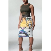 Stylish High Waist Tiger Printed Polyester Sheath Knee Length Skirts(Without Belt)