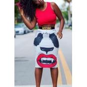 Stylish High Waist Panda Printed Polyester Sheath Knee Length Skirts(Without Belt)