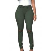Fashion High Waist  Broken Holes Army Green Cotton Pants