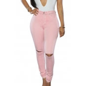 Fashion High Waist  Broken Holes Pink Cotton Pants