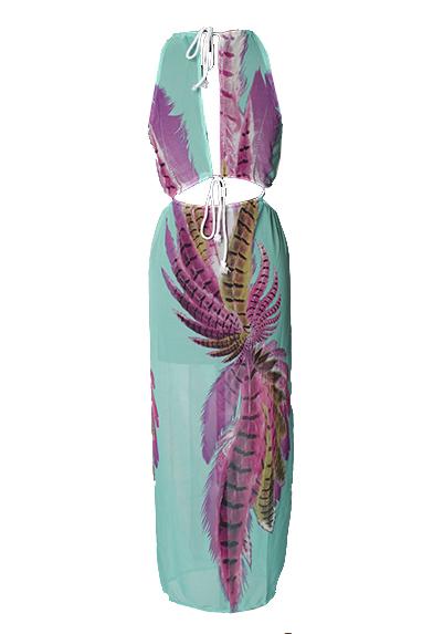 Sexy cuello redondo sin mangas impreso asimétrico azul vestido de longitud de tobillo de gasa