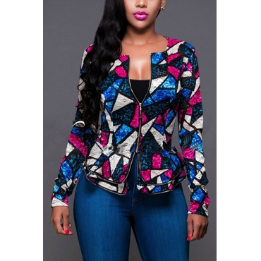 Euramerican O Neck Long Sleeves Color-block Patchwork Polyester Short Coats