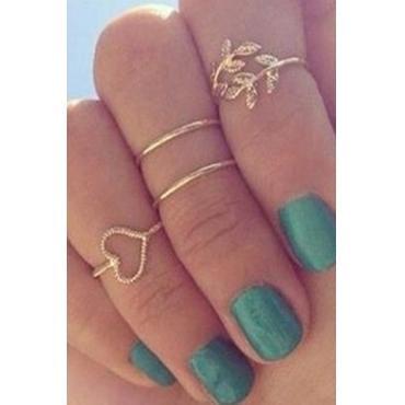 Euramerican Rhinestone Decorative Gold Metal Ring
