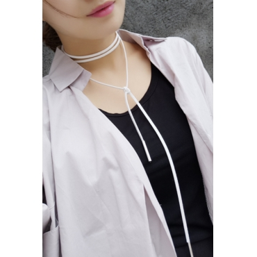 Contracted Style White Flocking Choker