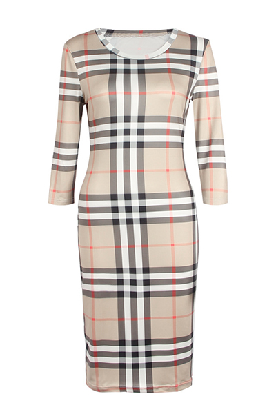 Stylish Round Neck Três quartos mangas Plaids Polyester Sheath Knee Length Dress