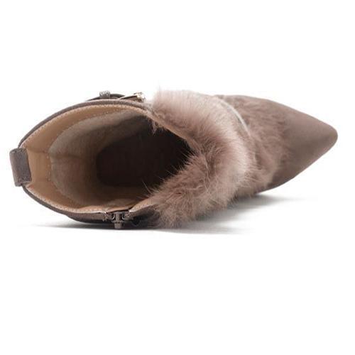 модный дизайн острым носом меха стилет супер высокой пятки замши цвета хаки середины икры сапоги