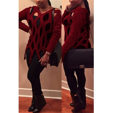 Trendy Round Neck Long Sleeves Hollow-out Red Acrylic Sweater