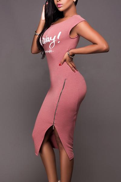 vestido hasta la rodilla envolvente de algodón de color rosa diseño de la cremallera de ocio redondo del cuello sin mangas
