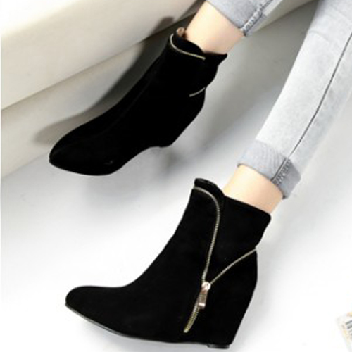 na moda apontou salto alto botas de camurça preta tornozelo projeto fechado com zíper toe
