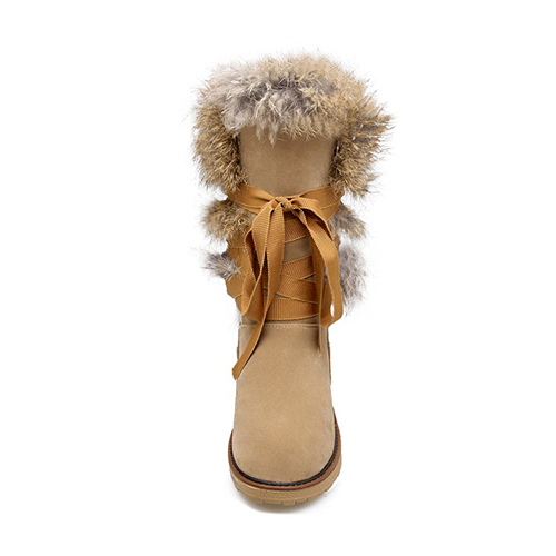 inverno tiro dedo do pé renda-up Flat Low Heel Damasco Botas de neve PU