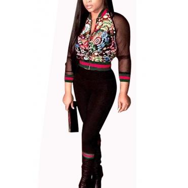 Trendy Mandarin Collar Long Sleeves Printed Gauze Patchwork Black Qmilch Two-piece Pants Set