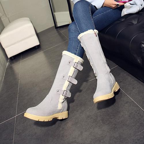 Stylish Round Toe Zipper Design Mid Heel Grey PU Mid Calf Snow Boots