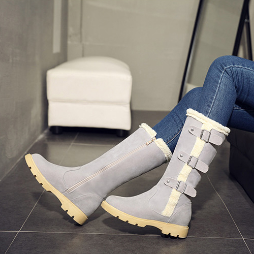 elegante design redondo toe zipper meados de calcanhar cinza botas de neve meados de bezerro PU