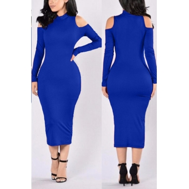 Euramerican Turtleneck Long Sleeves Hollow-out Royalblue Cotton Sheath Mid Calf Dress