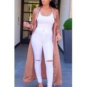Fashion Turndown Collar Long Sleeves Khaki Polyester Long Trench Coat