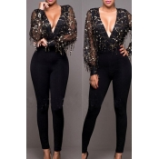 Sexy Deep V Neck Long Sleeves Sequined Decorative Black Gauze One-piece Jumpsuits
