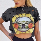 Leisure Round Neck Short Sleeves Printed Hollow-out Grey Polyester T-shirt