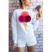Likable Round Neck Long Sleeves Cone Printed White Cotton Hoodies