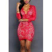Sexy Deep V Neck Three Quarter Sleeves Red Lace Mini Dress