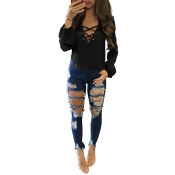 Stylish V Neck Long Sleeves Lace-up Hollow-out Black Cotton Tops