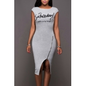 vestido hasta la rodilla de color gris envolvente de algodón diseño de la cremallera de ocio redondo del cuello sin mangas