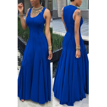 Fashion Boat Neck Sleeveless Ruched Blue Cotton Floor length Dress